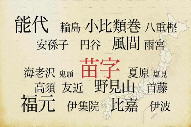ジモトではフツーな苗字でも、全国的には珍しいと言われる苗字
