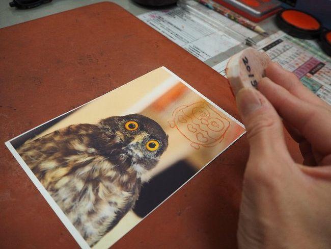 入学、就職などがうまくいくようという願いを込めて、希望者にはフクロウハンコを押したポストカードをプレゼントしている。ポストカードの画像はお客さんだったカメラマンが撮影したもの。